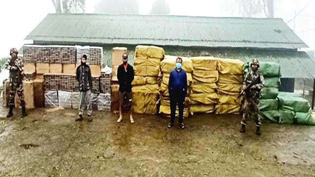 Foreign cigarettes, arms confiscated in Assam